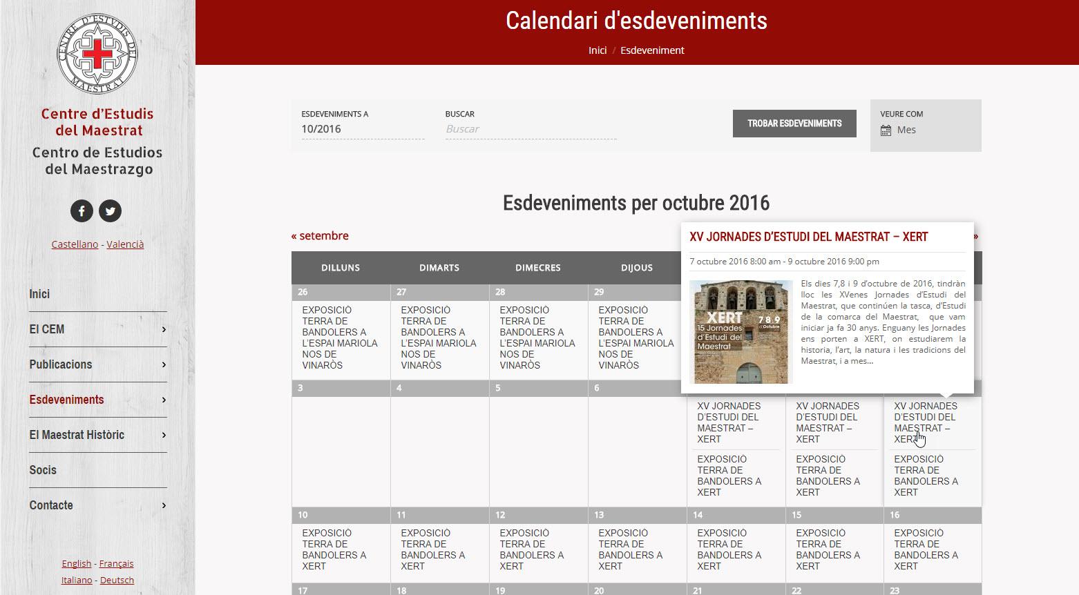 Web Centro Estudios Maestrazgo - Calendario de eventos