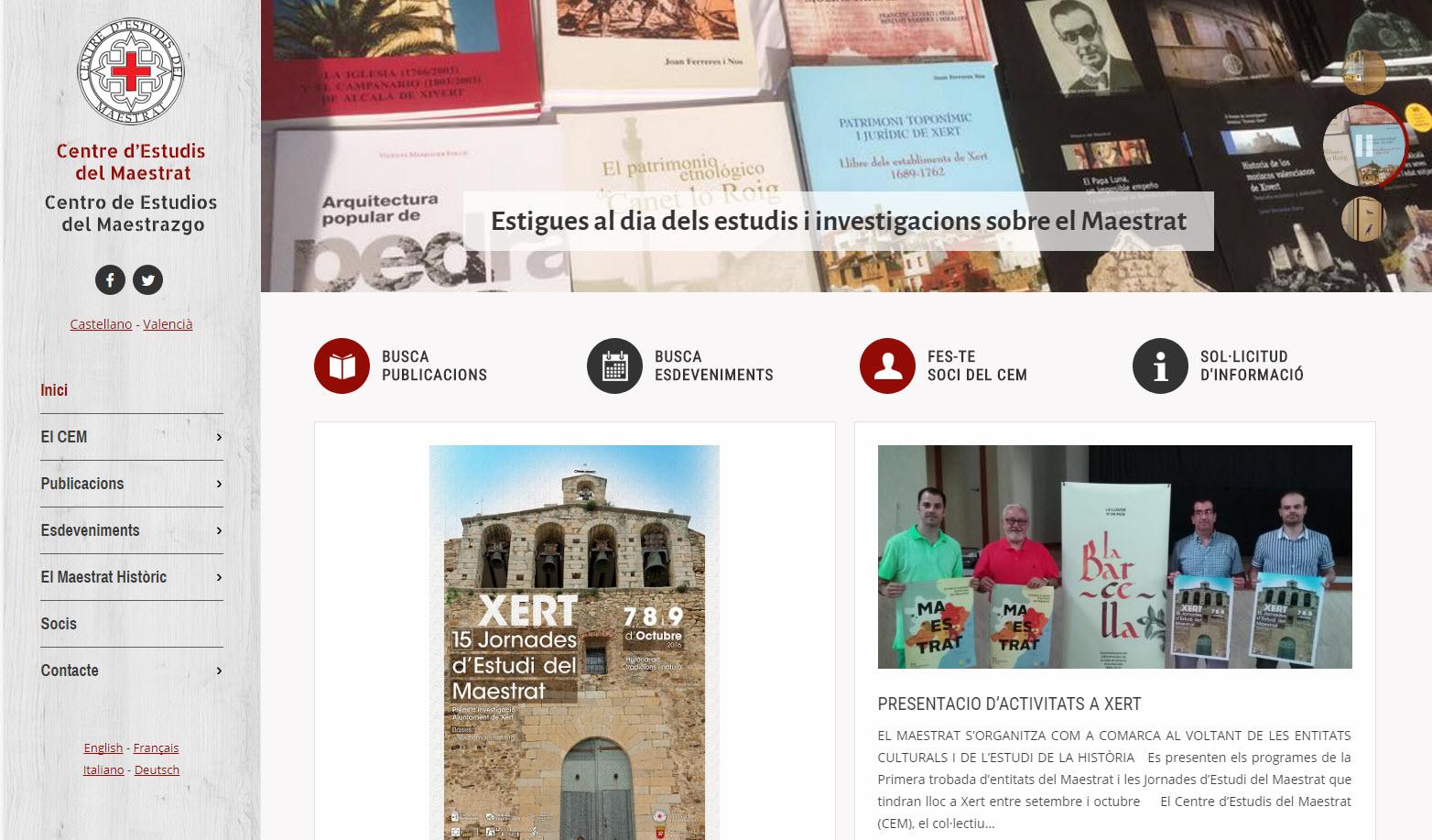 Web Centro Estudios Maestrazgo - Portada con noticias
