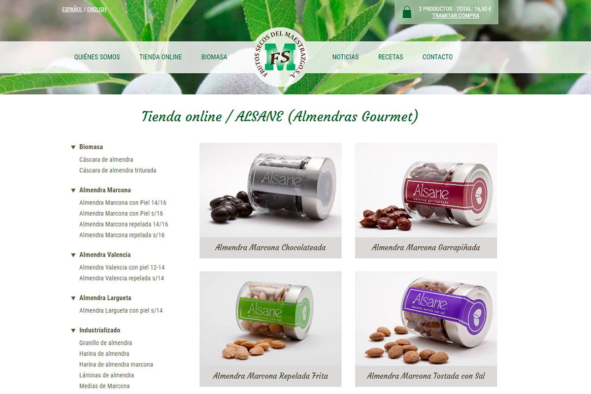 Catálogo de productos de web de Frusema